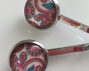 Paisley Cabochon Bobby Pin/Hair Pins Set of 2