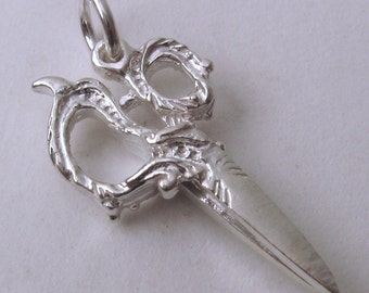 Genuine SOLID 925 STERLING SILVER 3D Large Vintage Scissors Sewing charm/pendant