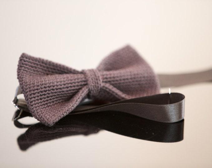 crochet bow tie 100% silk, black