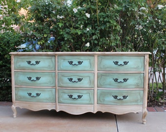 SOLD - Vintage Bassett French provincial dresser newly refinished in shabby chic - aqua, ivory / white, gold leaf trim - cottage / beach