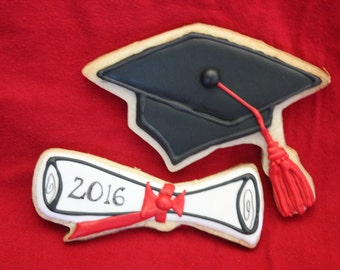 Graduation Cap and Diploma Cookies - 1 Dozen