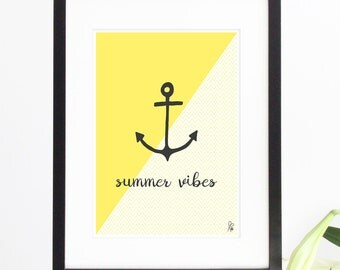 Anchor / Poster / Printable Walldecor / summer vibes / Yellow / Wall Art / Quote / digital / kitchen / INSTANT DOWNLOAD