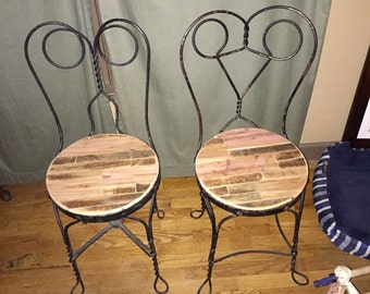 Reclaimed wood and Iron chairs