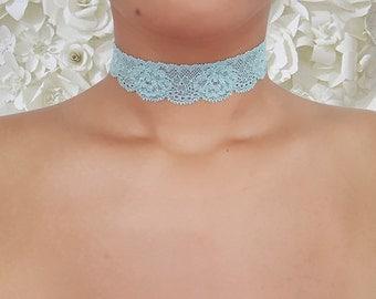 Rosie Blue - Delicate Stretch Lace Choker