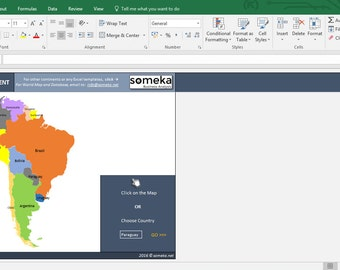 South American Countries - Info List in Excel