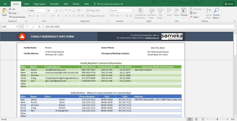 Arbeitsblatt Excel Unterricht : Notfall kontakt formular excel arbeitsblatt vorlage