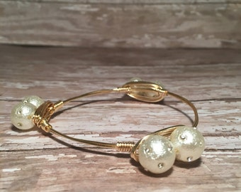 Diamond Pearls - Wire Wrapped Bangle