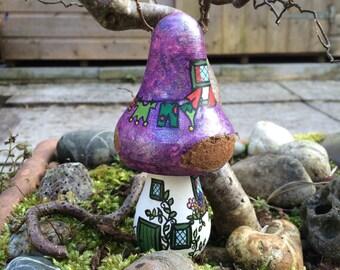 Foxglove Cottage - Handpainted Wooden Toadstool OOAK