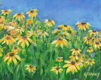 Field of Susans: Fine art giclee print of Black Eyed Susans from original Acrylic Painting