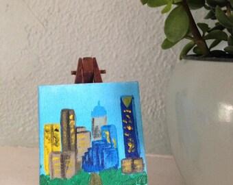 OKC Skyline Mini-Canvas and Easel Set
