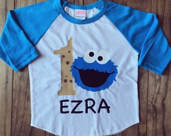 Cookie Monster Birthday Raglan