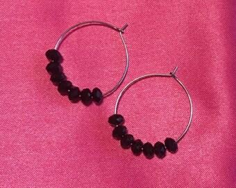 Black Angelic Bead Hoop Earrings
