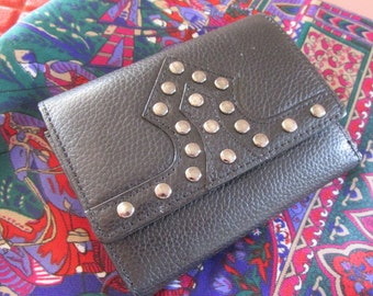 Black leather purse black leather wallet studded leather purse vintage 90s.
