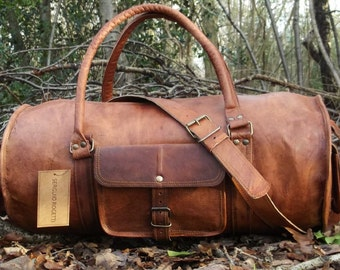 Hand Made Chic Rustic Leather Travel Bag 100% Real Leather Weekend Bag Holdall Overnight Holiday Vacation Duffel