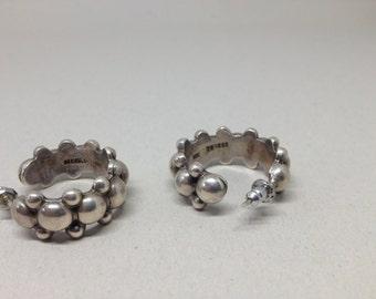 Mexican Sterling Silver Hoop Earrings