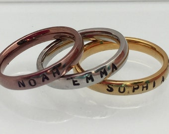 Stackable Name Rings Stainless Steel 3mm