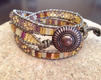 Bronze and gold Czech glass beaded leather wrap bracelet, Bohemian leather wrap