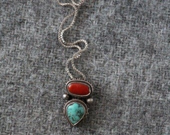 25% OFF turquoise and red coral necklace