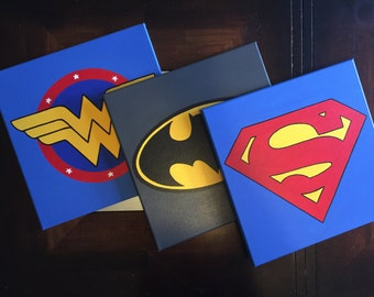 Set of 3 Superhero wall art, Super hero handmade canvas paint, Superman, Batman, Flash, Spiderman, Wonder woman, Hulk, Captain America