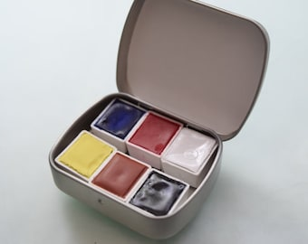 WATERCOLOR paint HANDMADE Non Toxic Paint Travel Kit Includes - 6 half pans of your choice -Tin and Waterbrush are free