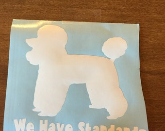 Car window decal or computer decal  standard poodle