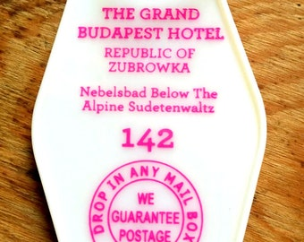 ON SALE! The Grand Budapest Hotel Inspired Keytag (printed on front and back)