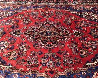 "Persian Rug Hand-Knotted Bibikabad (Red, Blue, Taupe) 316cm x 212cm (10'4"" x 7'0"")"