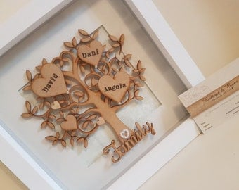 Handmade Personalised Family Tree Frame, Family Tree, Grandchildren Tree, Family Gift, Wedding Gift, Home Decor