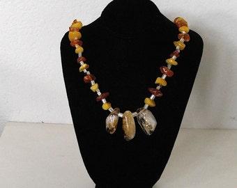 Baltic Amber Citrine Necklace-Amber Jewelry-Citrine Jewelry