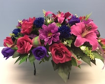 Memorial Day Cemetery Flowers,Tombstone Topper,Pink and Purple Artificial  Flowers ,Cemetery Saddle ,Headstone Flowers,Canadian Made