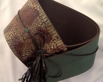 FREE SHIPPING Green vegan leather belt,fashion belt,faux leather obi belt,sash belt,green obi belt,boho belt,forest green belt,christmas gif