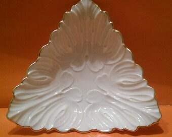 "Lenox Candy Dish ""Triad Collection"" Triangular Candy Dish Bowl Bon-Bons Classic Cream with Gold Trim"