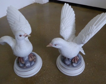 Pair of Porcelain White Doves by Andrea