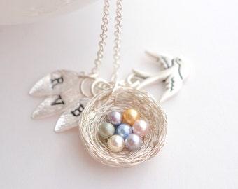 Bird Nest Necklace, Mothers Birthstone Initial Necklace, Mama Bird Necklace, Mothers Day Gift for Grandma, Miscarriage Keepsake Necklace