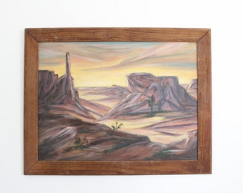 Rustic, Moody Desert Canyon Painting // Framed Dark Neutral Colored Canyon Vintage Wall Art in Wood Frame