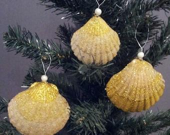 Beach Ornament - Seashell Ornament, Set of 3 Glittered Shell Christmas Ornament