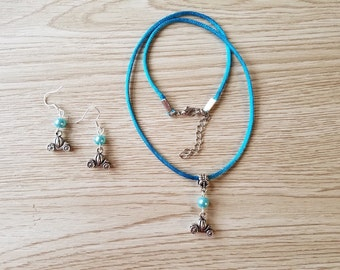 Princess Cinderella. Necklace and earrings Set