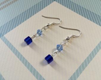 Delicate Handmade blue bead drop earrings