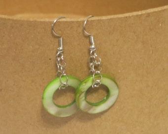 Round green drop earrings