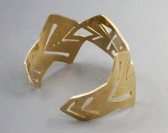 Sawed Brass Wide Cuff