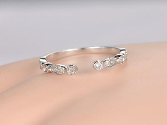 Open Milgrain Diamond Wedding Band Solid 14k White Goldhalf
