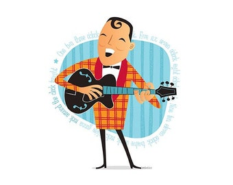 Bill Haley, 50s Rock & Roll, Instant Digital download, Printable Illustration, pioneer of rock and roll, Rockabilly, Retro illustration