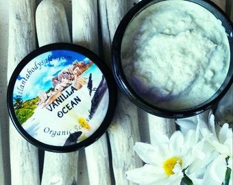 Vanilla Ocean- body scrub organic body scrub vegan body scrub whipped sugar scrub