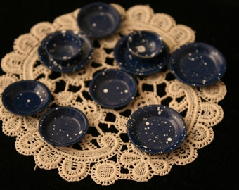 Miniature Lace (plastic) Doily with Blue Enamel Dishes