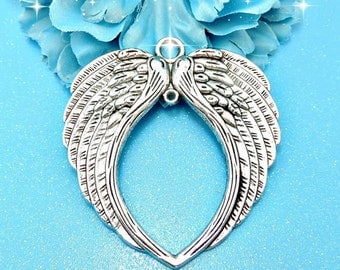 1 Huge Angel Wings Pendant Antique Silver Tone Angel Wings Charm Bracelet Bangle Bracelet Pendants #591
