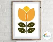 Scandinavian Design Flower Print  (orange) -  Mid-Century Design Print for Kitchen, Retro Print, Scandi Wall Art