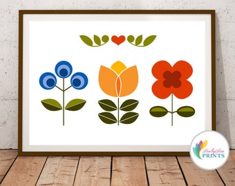 Three Scandinavian Flowers Print - Scandinavian Design Print, Mid-Century Design Print for Kitchen, Lounge or Office, Scandi Wall Art