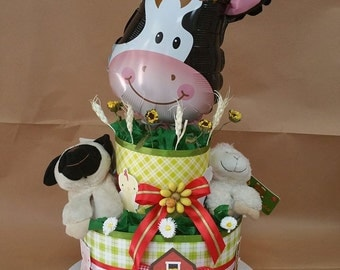 "diaper cake diaper cake themed ""farm animals"" with 2 mylar balloon and plush"