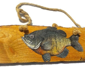 Rustic Sun Fish Painting - Fish Wood Art - Decorative Wood Painting - Wood Wall Art - Rustic Wall Art - Gift for Him - Fishing Decor