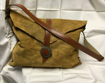Leather shoulder bag, boho, prairie chic
